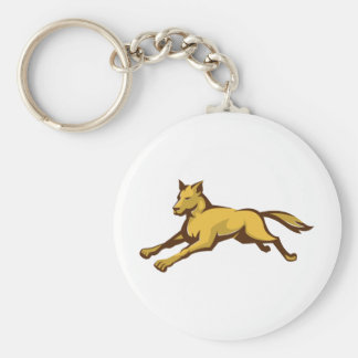 wild dog wolf jumping front retro key chains