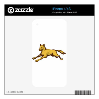 wild dog wolf jumping front retro skin for iPhone 4S