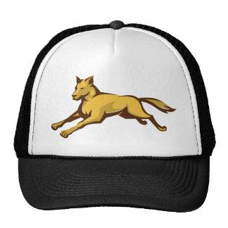 wild dog wolf jumping front retro trucker hat