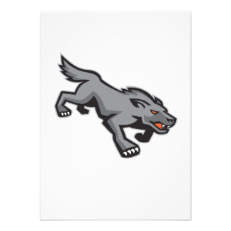 Wild Dog Wolf Stalking Retro Personalized Announcements