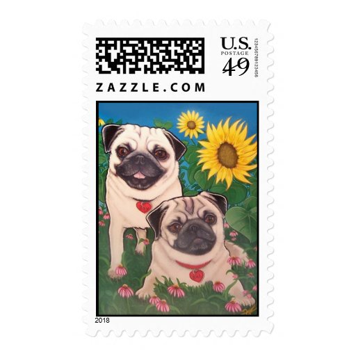 Wild Dogs Pugs Postage Stamps