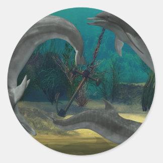 Wild Dolphins Classic Round Sticker