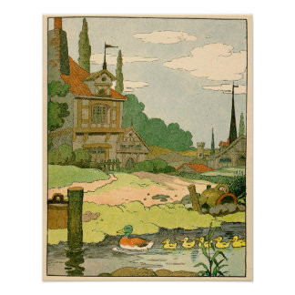 Wild Duck and Ducklings Swimming on the River Poster