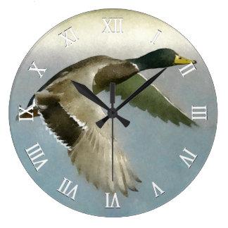 Wild Duck In Flight Large Clock