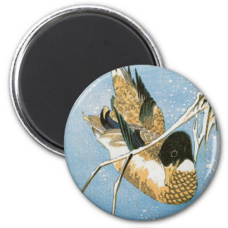 Wild Duck Swimming Snow Laden Reeds by Hiroshige 2 Inch Round Magnet
