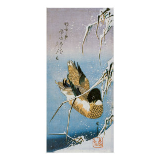 Wild Duck Swimming Snow Laden Reeds by Hiroshige Poster