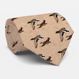 Wild Ducks Flying Tan Neck Tie