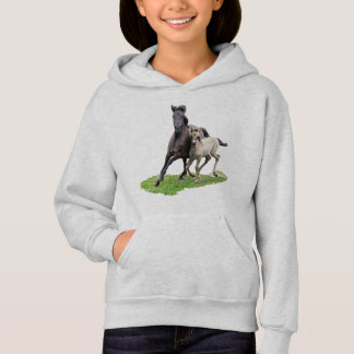 Wild Dulmen Horse Cute Foal at a Gallop  for girls Hoodie
