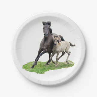 Wild Dulmen Horse Mare with Cute Foal Gallop Party Paper Plate