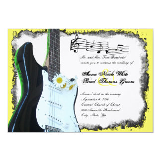 Wild Electric Guitar Lime Music Wedding Invitation