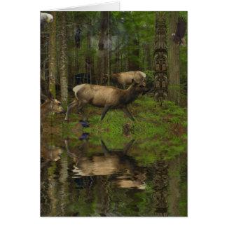 Wild Elk, Wapiti, Deer Wildlife Card