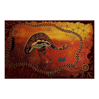 Wild Emu Dreaming Poster