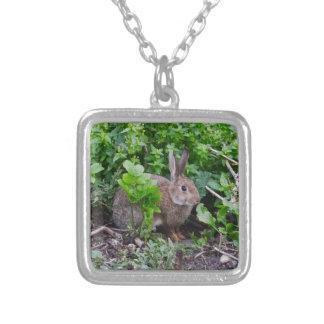 Wild English Rabbit Square Pendant Necklace