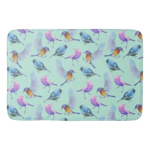 Wild Exotic Birds Colorful Watercolor Pattern Bath Mat