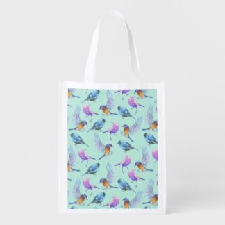 Wild Exotic Birds Colorful Watercolor Pattern Grocery Bag
