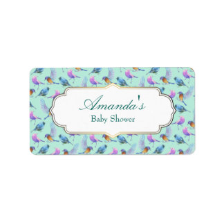 Wild Exotic Birds Watercolor Pattern Baby Shower Label