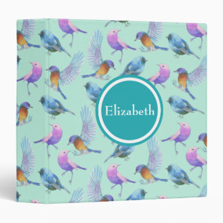 Wild Exotic Birds Watercolor Pattern Personalized Binder