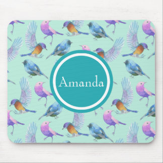 Wild Exotic Birds Watercolor Pattern Personalized Mouse Pad