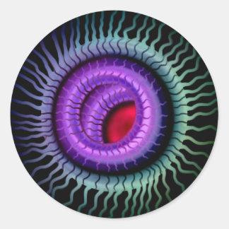 Wild Eye Sticker-  Red Pupil, Purple Iris Classic Round Sticker