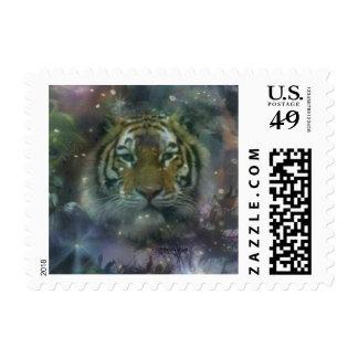 Wild Eyes Tiger Crouching Beautiful Postage Stamp