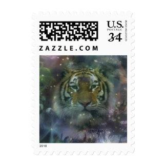 Wild Eyes Tiger Crouching Beautiful Stamp