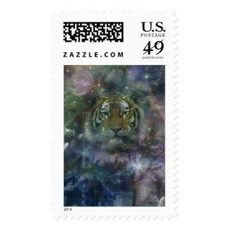 Wild Eyes Tiger Crouching Beautiful Stamps