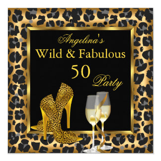 Wild & Fabulous Gold Leopard High Heels Birthday Card