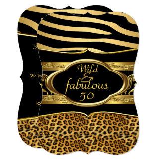 Wild Fabulous Zebra Leopard Black Gold Birthday 3 Card