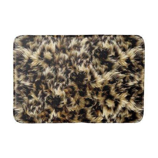 Wild Faux Fur Leopard Style Camo Print Bath Mats