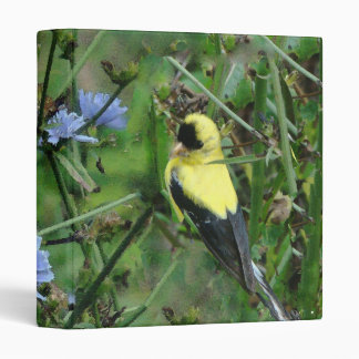 Wild Finch Goldfinch Flowers Floral Bird 3 Ring Binder