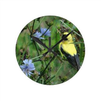 Wild Finch Goldfinch Flowers Floral Bird Round Clock
