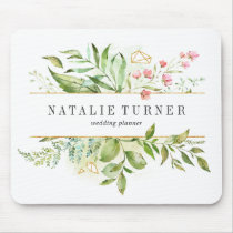 Wild Floral Green Foliage Watercolor Personalized Mouse Pad