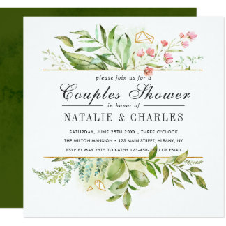Wild Floral Green Foliage Wedding Couples Shower Invitation
