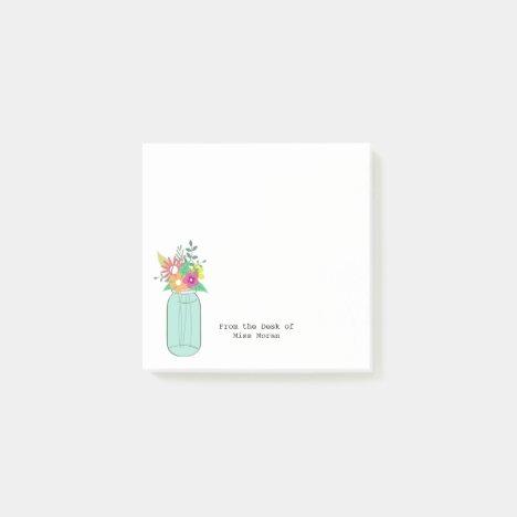 Wild Flower Bouquet Mason Jar Monogram Teacher Post-it Notes