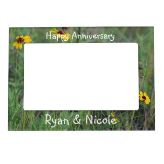 Wild flower field magnetic picture frame