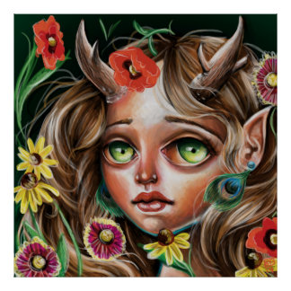 Wild Flower Forest Nymph Pop Surrealism Poster