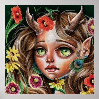 Wild Flower Forest Nymph Pop Surrealism Poster
