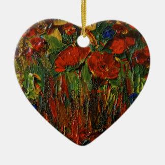 Wild Flower  Heart Shaped Ornament