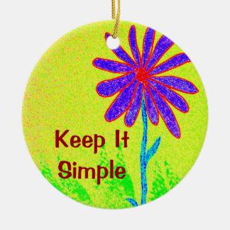 Wild Flower Keep It Simple Ceramic Ornament