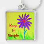 Wild Flower Keep It Simple Silver-Colored Square Keychain