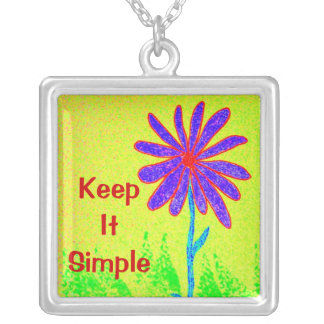 Wild Flower Keep It Simple Square Pendant Necklace