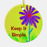 Wild Flower Keep It Simple Double-Sided Ceramic Round Christmas Ornament