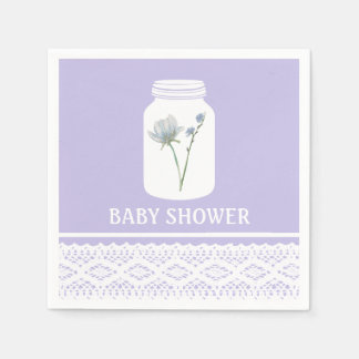 Wild Flower Mason Jar and Lace Baby Shower Paper Napkin