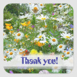 WILD FLOWER  MEADOW ~ Square Thank You Sticker