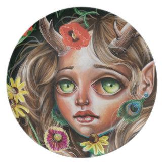 Wild Flower Pop Surrealism Forest Nymph Plate