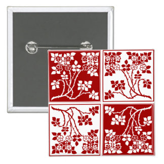 Wild Flower Roses Square Block Tiled Red White Pins