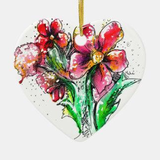 Wild Flower Splash Ceramic Ornament