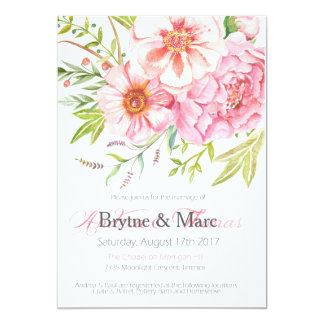 Wild Flower Wedding Invitation   5 x 7 printable  