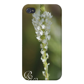 Wild flower white monogram covers for iPhone 4