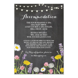 Wild Flowers Accommodation Wedding Chalk Card
